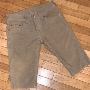 True religion corduroy skinny denim jeans shorts